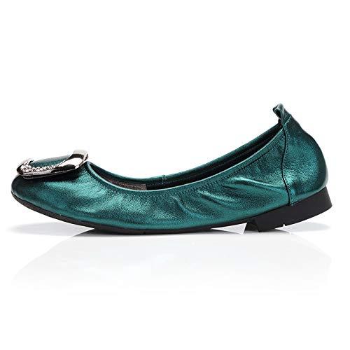 FLYRCX Zapatos de Baile Plegables de Cuero Boca Baja señoras Zapatos Planos Alrededor de la Cabeza de Manera cómoda Zapatos de Mujer Embarazada Zapatos de Trabajo C