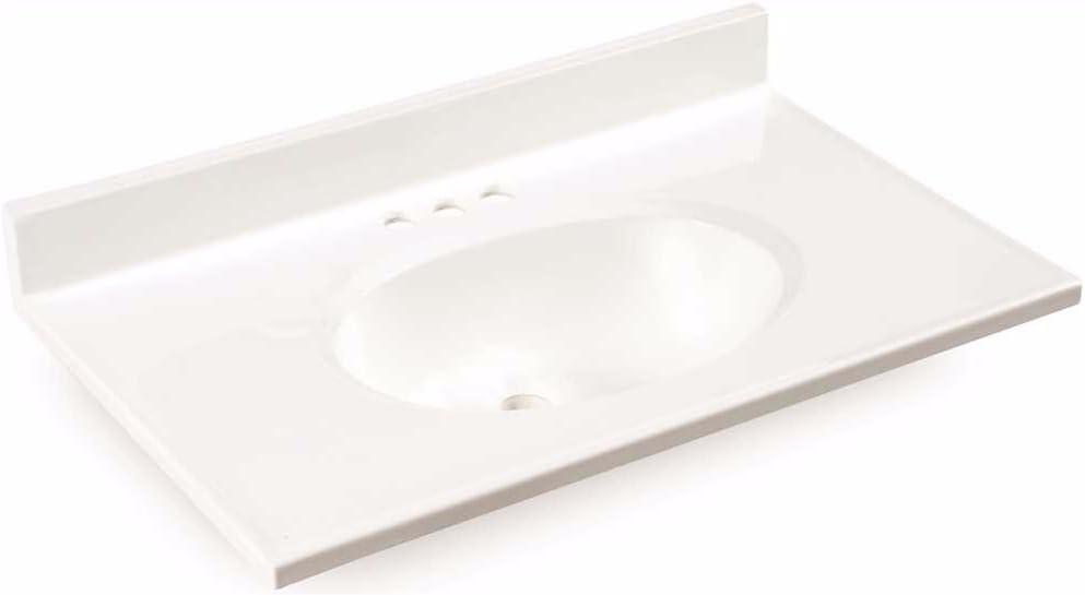 Premier 112011 Bathroom Vanity Top Cultured Marble White 31 X 19 Vanity Sinks Amazon Com