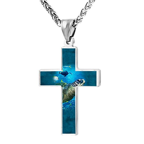 Simple Small Zinc Alloy Religious Cross Necklace For Men Women,Print Sea Turtle