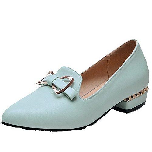 VogueZone009 Damen Ziehen auf Niedriger Absatz PU Leder Eingelegt Spitz Zehe Pumps Schuhe Blau