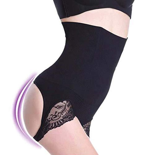 High Waist Trainer Butt Lifter Sexy Slimming Hollow Out Lace Underwear Briefs Black (Waist Hi Briefs Smooth)