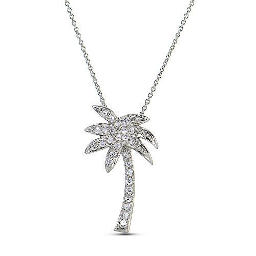 Lovve Cubic Zirconia Palm Tree Necklace with 18 inch Chain
