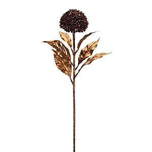 "Diva At Home Club Pack of 12 Brown and Gold Finish Artificial Allium Stem with Flower Picks 27"" 3"