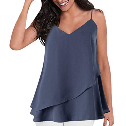 (Todaies Women's Chiffon Tank Top,Sexy Fashion Solid Color Small Strap Double Ruffled Camisole (XL, Navy))