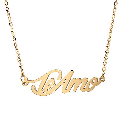 AOLO Gold Plated Little Teamo Charm Necklace Name Pendant Necklace, Teamo