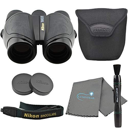 Nikon Travelite 10x25 Compact Binoculars (7278), Black Bundle with Nikon Lens Pen and Lumintrail Cleaning Cloth