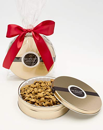 The World's Tiniest, Most Irresistible Chocolate Chip Cookies - Be The Party Favorite & Give The Gift Of Gourmet Microchips - 10oz Fresh Mini Cookies In Premium Tin - Small Batch Handmade In Texas by MICROCHIP