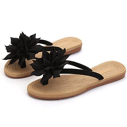Ocasionales De Flores Zapatos De De De Negro Chanclas Mujer Bohemia Verano Playa WFaUwpq0qn