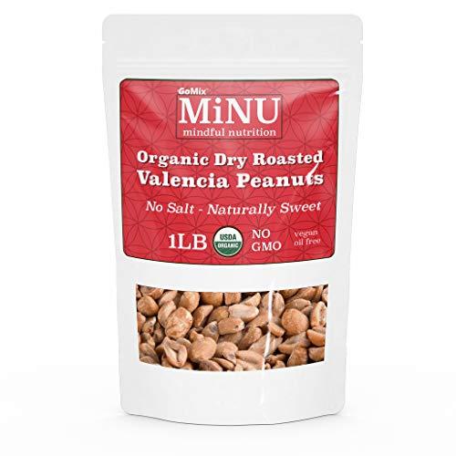 GoMix Organic Dry Roasted Valencia Peanuts, 16 oz (1 lb) #1 Keto Paleo Snack, MiNU Mindful Nutrition, Unsalted, Superfood, Protein, Vegan, NonGMO, Gluten Free, No Nonsense!
