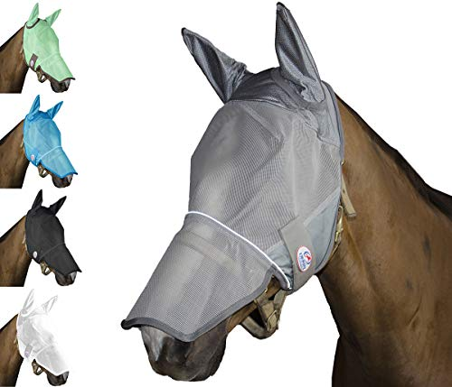 Gymini Lights (Derby Originals Reflective Fly Mask with One Year Warranty - with Ears and Nose Cover)