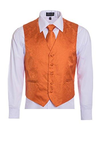 (Men's Premium Paisley Vest Neck Tie Pocket Square Set Paisley Vest for Suits and Tuxedos-Many Colors (2XL, Burnt Orange))