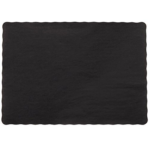 Edge Paper Placemat (Perfectware Placemat-Black-100  Place Mat with Scalloped Edges, Black (Pack of 100))