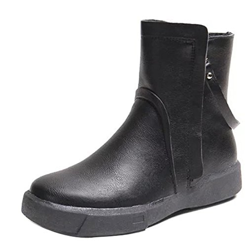 Gaorui Women Fashion Biker Boots Faux Fur Lined Zip Up Round Toe Non Slip Snow Boots Flat School Casual Shoes Black ZH7KkC7E