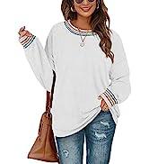 WIHOLL Womens Sweaters Crewneck Long Sleeve Rainbow Striped Plain Fuzzy Sweatshirts Tops