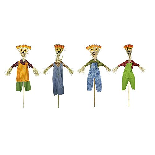 Northlight Pack of 12 Broom Head Scarecrow Autumn Halloween Decorations 6']()