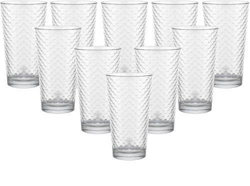 Circleware 40146 Paragon Honeycomb Set of 10 Heavy Base Highball Tumbler Drinking Glasses, Beverage Glassware Ice Tea Cups for Water, Juice, Milk, Beer 15.7 oz 10pc
