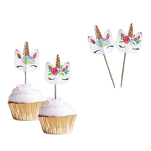 (Unicorn Eye Horn Cupcake Topper (48 Pack) Double Sided Girls Party Decor Supplies)