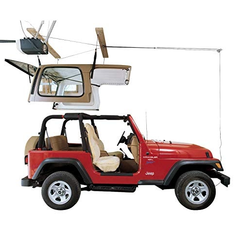 HARKEN Jeep Hardtop Garage Storage Ceiling Hoist | 4 Point Jeep System |6:1 Mechanical Advantage | Lift, Single-Person, Hanger, Pulley, Wrangler, Rubicon (Header Size For 12 Foot Garage Door)