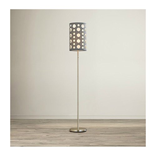 62 Inch Elegant & Contemporary Openwork Shade Floor Lamp with Pull Chain Switch For Living Room - Silver Base Finish, Gray