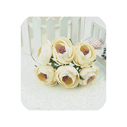 6pcs Silk Mini Tea Bud Artificial Rose Flowers Bouquet for Wedding Party Decoration,Ivory -