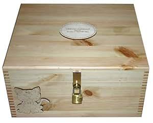 Personalizado Recuerdo de madera natural con cerradura o memoria caja stoage–decorada con un gato–Regalos para los niños, aniversario, cumpleaños, bautizo, nombrando ceremonia, bautismo