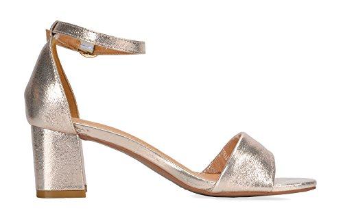 Dröm Par Kvinna Duchess Mode Blocket Krängt Sandaler 03-guld