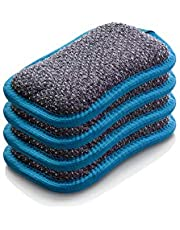 E-Cloth Washing Up Pad, Non-Scratch Kitchen Scrub Sponge, 300 Wash Guarantee, Blue, 4 Pack