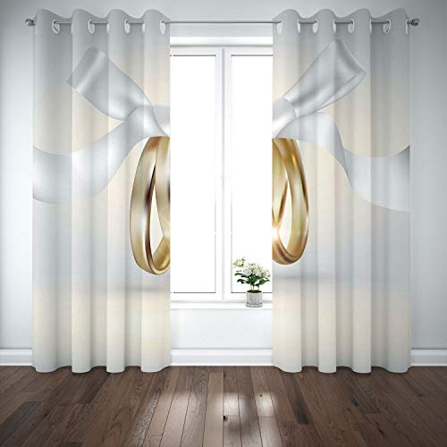(SCOCICI Grommet Satin Window Curtains Drapes [ Wedding,Golden Colored Wedding Rings Ribbon Marriage Icon Realistic Celebration Photo,White Gold] Living Room Bedroom Kitchen)