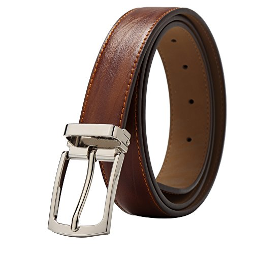 BISON DENIM Mens Leather Belt Genuine Leather Buckle Belt Cool Belt for Dress&Jeans