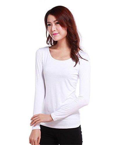 GladThink Musulmanes camiseta de manga larga de las mujeres de longitud completa Blanco