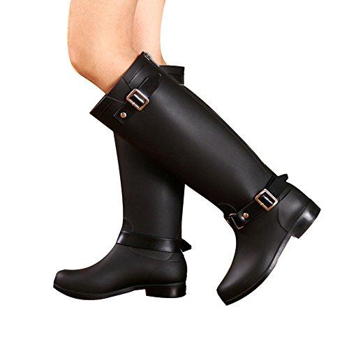 fereshte Women's Back Zip Waterproof Punk Knee High Flat Rain Boots Black zf8T7G