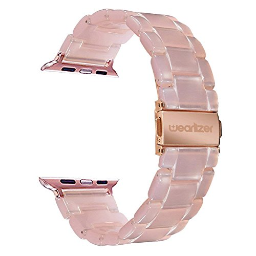 Wearlizer Compatible with Apple Watch Band 42mm 44mm Womens iWatch Lightweight Resin Wristbands Beauty Dress Replacement Sport Strap Cool Bracelet with Metal Steel Clasp Series 4 3 2 1 Edition-Pink