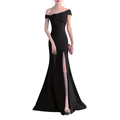 long black evening dress with split - 7