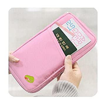 Liroyal Pink Travel Wallet With Full Closure Zip Document Organiser