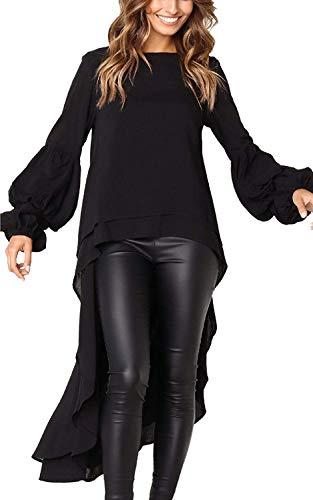 Womens Blouses and Tops Ruffle Long Sleeve Asymmetric High Low Club Shirt Dress XL Black