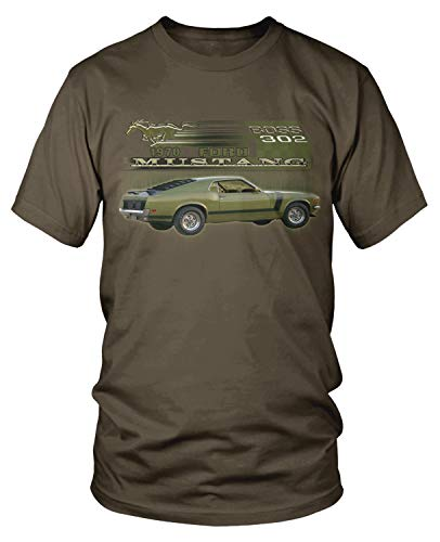 - Amdesco Men's 1970 Ford Mustang BOSS 302 T-Shirt, Dark Chocolate 2XL