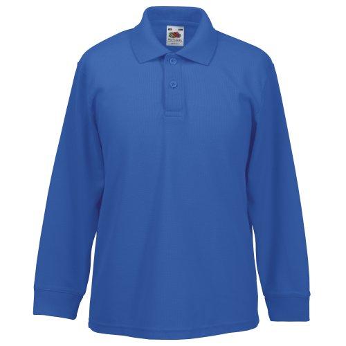 Fruit of the Loom Childrens Big Boys Long Sleeve Polo Shirts (14-15) (Royal)