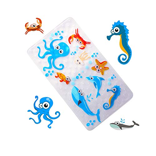 WARRAH None-Slip Tub Kids Bath Mat - Premium Square Anti-Slip Shower Mat,Cool Slip Resistant Bathroom Floor Bathtub Mats for Babies,Children,Toddler (Blue Octopus) (Mold Mat Bath Resistant Baby)