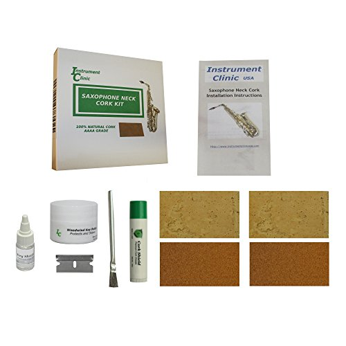 Cork Cement - Instrument Clinic Saxophone Neck Cork Replacement Kit, Natural Cork and Composite Cork! (Adhesive not included due to shipping regulations)