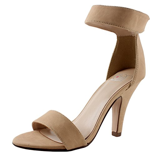 [Delicious ROSELA Open Toe High Heel Ankle Strap Sandal 7.5B(M), Beige NBPU] (Ankle High Heel)