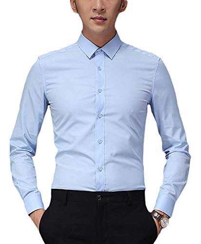 (Plaid&Plain Men's Slim Fit Dress Shirts Spread Collar Poplin Shirt Wrinkle Free Shirts 5618-A Light Blue M)