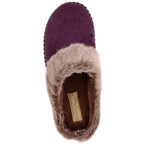 FOOTWEAR Slippers Faux Fur on Plum with Microsuede Mules Indoor Slip Shoes ABSOLUTE Womens Trim UYwdqxRTnR