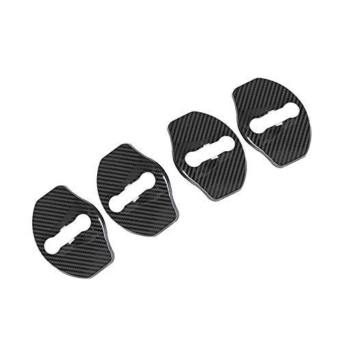CoolKo Stainless Steel Carbon Fiber Pattern Design Car Door Lock Striker Buckle Cap Protection for Tesla Model 3 [4 Pcs - No Word]