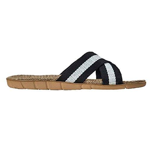 SAGUARO Cozy Bathroom Household House Slippers Sandal Braid Non slip Black Shower Soft Flax zI5rqI