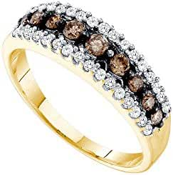 14k Yellow Gold Womens Cognac-brown Colored Diamond Fashion Band Ring 1/2 Cttw