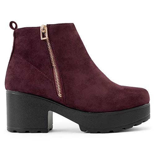 Product image of RF ROOM OF FASHION Women's Vegan Round Toe Light Weight Stacked Heel Platform Side Zipper Ankle Booties Boots
