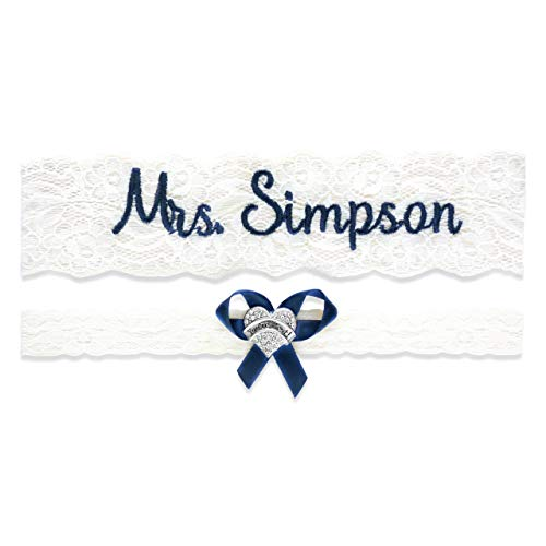 (Wedding Garter for Brides Personalized Bridal Custom Garters No Slip Lace (Small (16