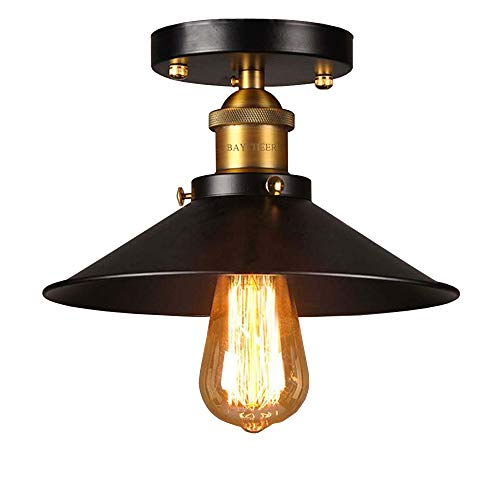 BAYCHEER HL410348 Vintage Edison Industrial Loft Black Metal Shade Cone Mini Semi Flush Mount Ceiling Light Lamp with 1 light