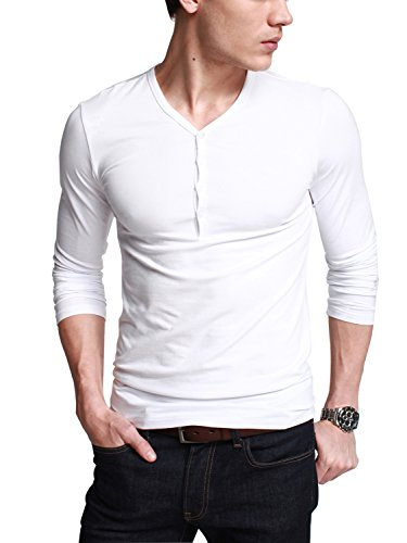 iLoveSIA Mens Henley T-shirts With Long Sleeve Slim