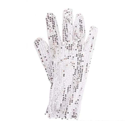 New Costume White Silver Glitter Glove]()